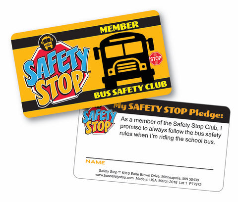 Bus Safety Club Membership Card