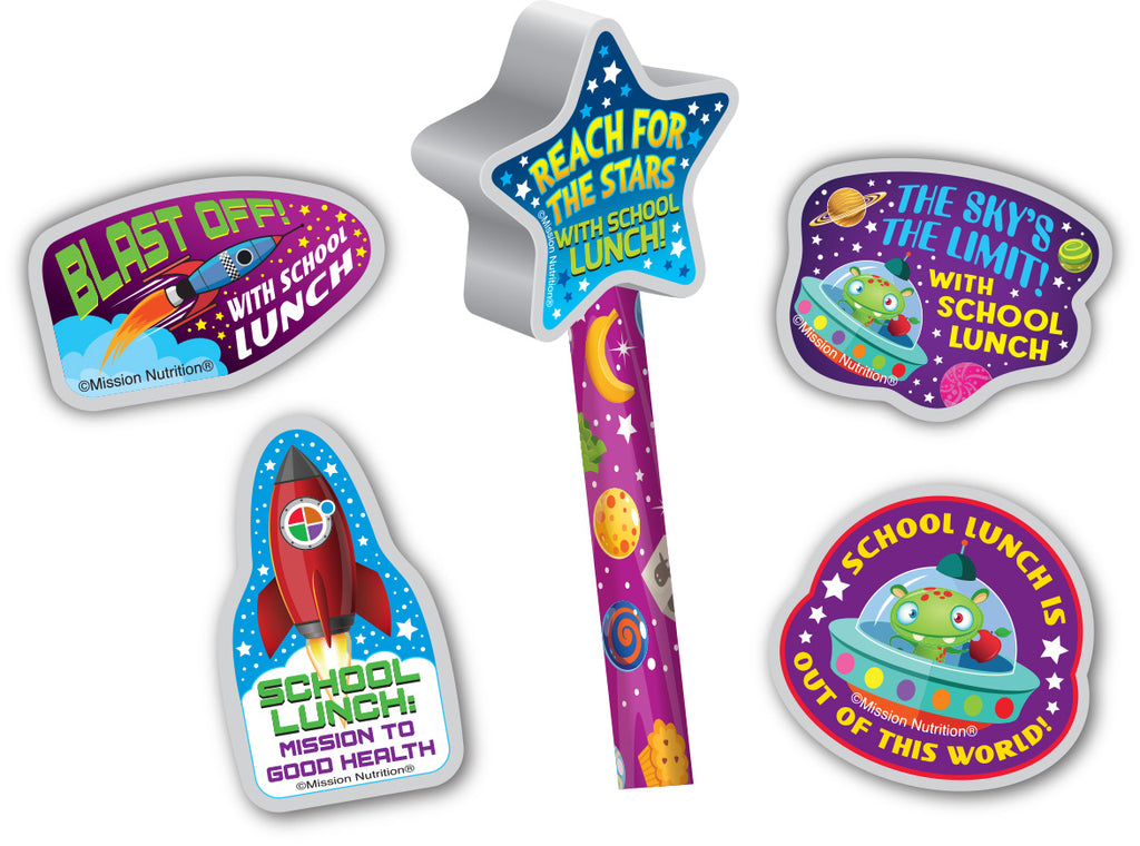 School Lunch is Out of This World!  Pencil Toppers/Eraser