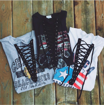 Vintage Lace up tshirt