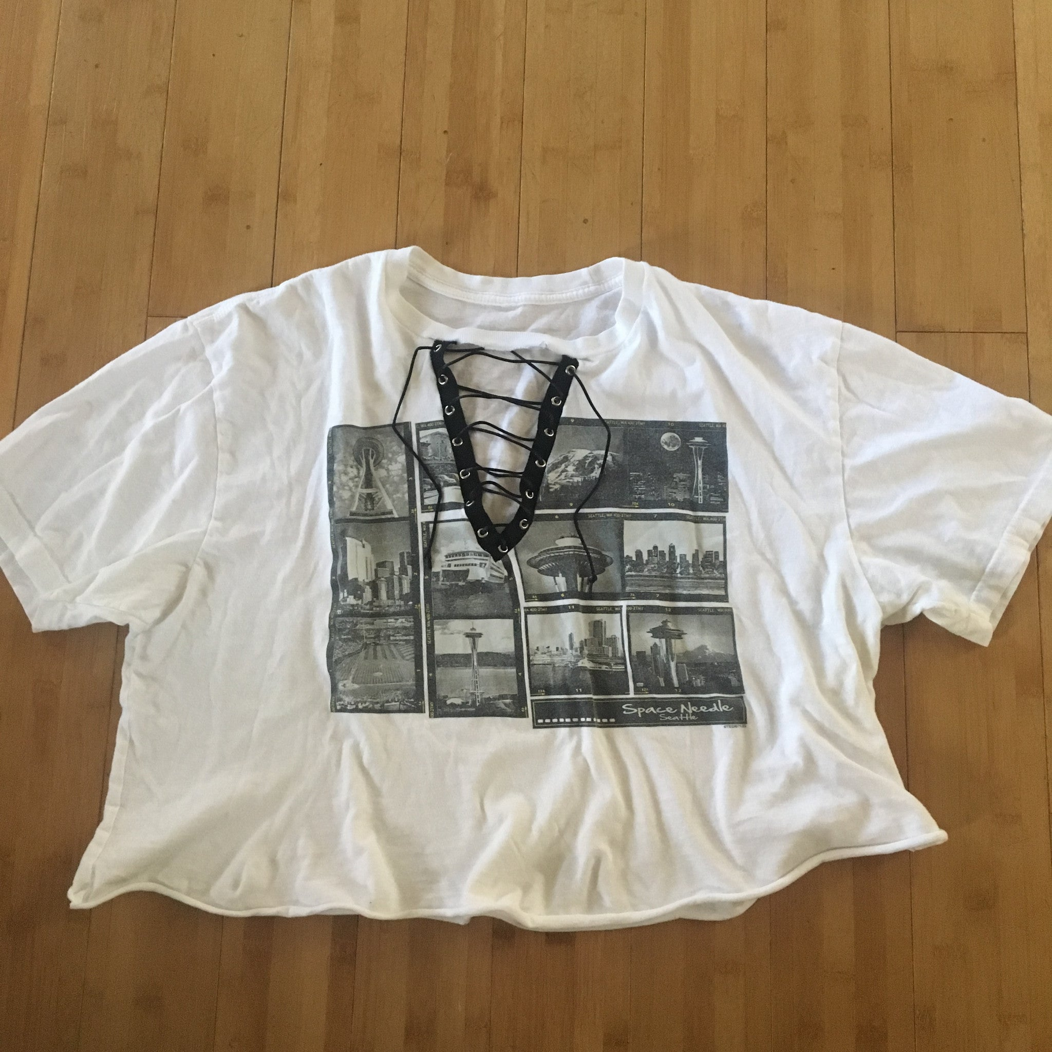 Random Vintage Lace Up tshirt
