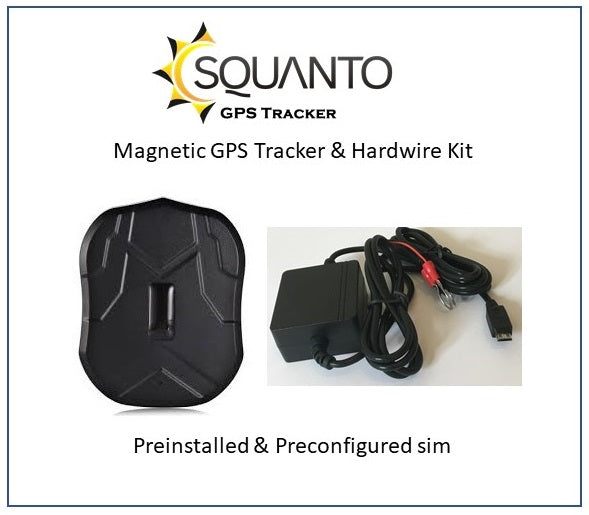 Magnetic GPS Tracker SQ-012 & Vehicle Hardwire Kit