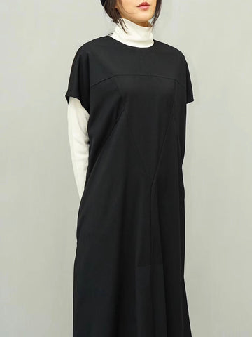 Back Pleat Hem Suiting Dress