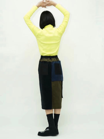 Color Block Corduroy Pencil Skirt