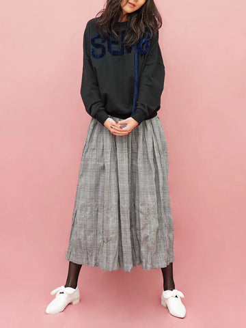 Gingham Check Wrinkle Skirt