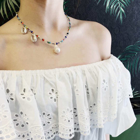 Rainbow Necklace w. Pearl/Shell