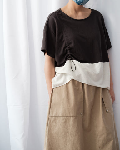 Two Tone Drawstring Top