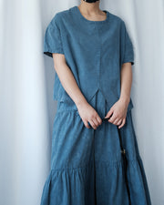 Washed Split Hem Top & Skirt (whole set)