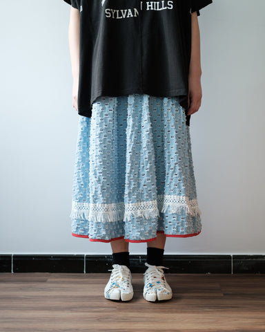 Cut Out Pattern Tassel Trim Skirt