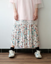 Pattern Pleated Skirt