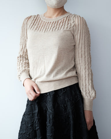 Sheer Details Knit Top - Beige