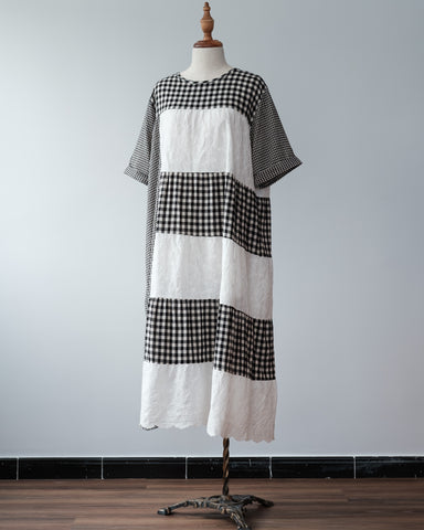 Checker Mix Pattern Dress
