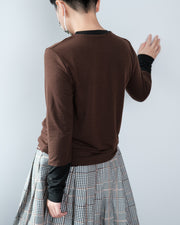Contrast Cuff Knit Top - Brown