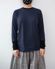 Contrast Cuff Knit Top - Blue