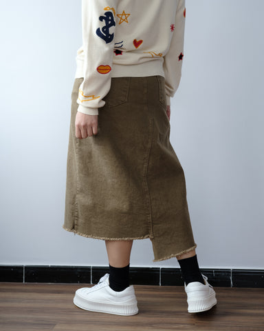 Front Split Denim Skirt - Brown