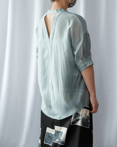 Back Cut Out Silky Shirt