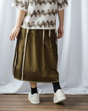 Inserted Trims Twill Skirt