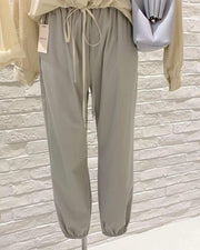 Elastic Calf Drawstring Pants