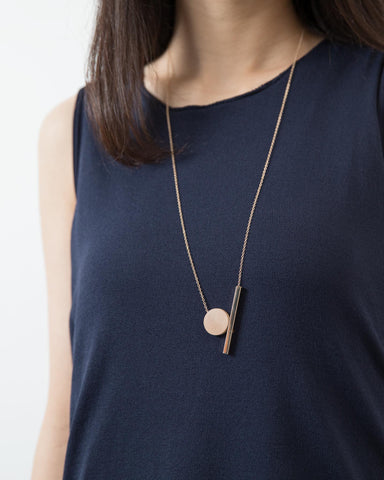 Round Wood + Gold Rectangle Necklace
