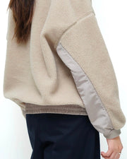 Fabric Mix Shearling Top