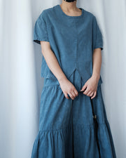 Washed Split Hem Top (Blue)