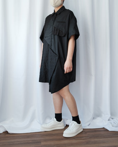 Fabric Mix Shirt Dress