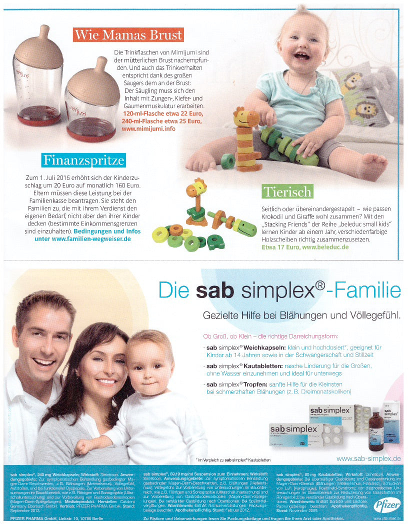 Breastfeeding baby bottle mimijumi in Junge Familie top German magazine