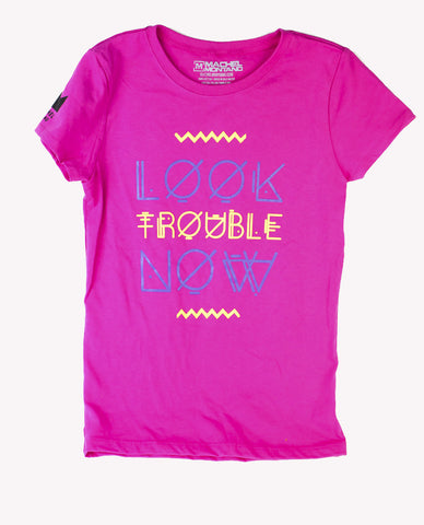 Look Trouble Now Kids Tshirt Girl