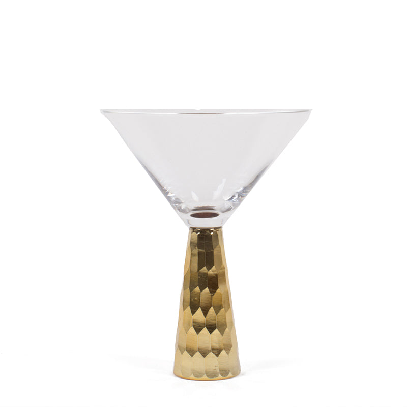 8 OAK LANE | Gold Geo Hammered Martini Glass