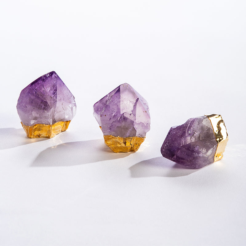 GEOCENTRAL Amethyst Point with Gold Plating