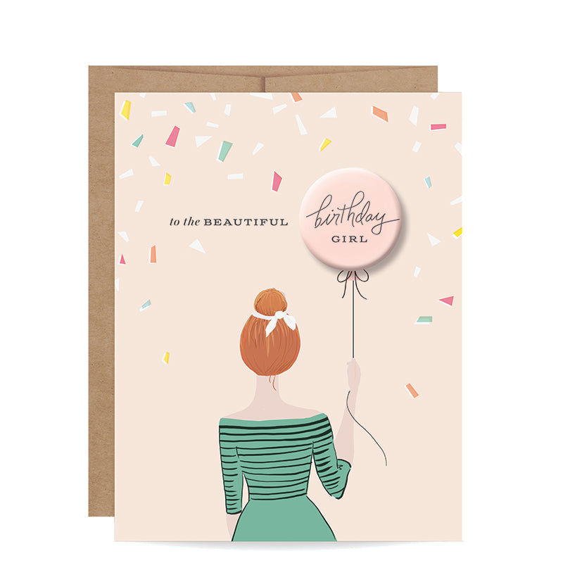 INKLINGS PAPERIE | Birthday Girl Button Card - Redhead
