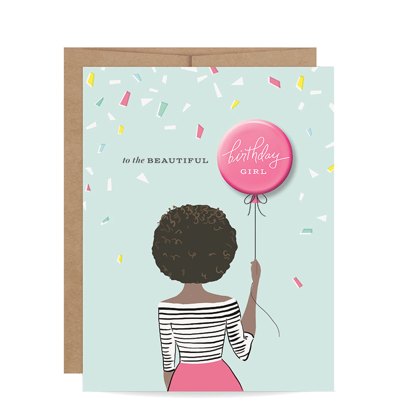 INKLINGS PAPERIE | Birthday Girl Button Card - African American