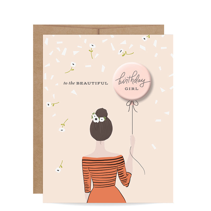 INKLINGS PAPERIE | Birthday Girl Button Card - Brunette