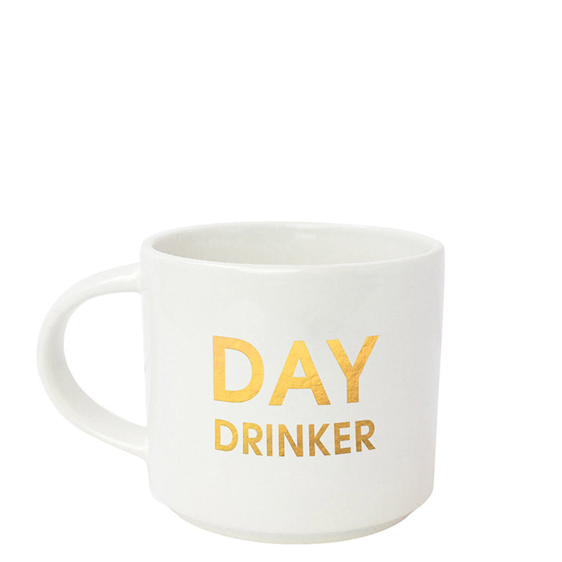 "CHEZ GAGNÉ | ""Day Drinker"" Metallic Gold Mug"