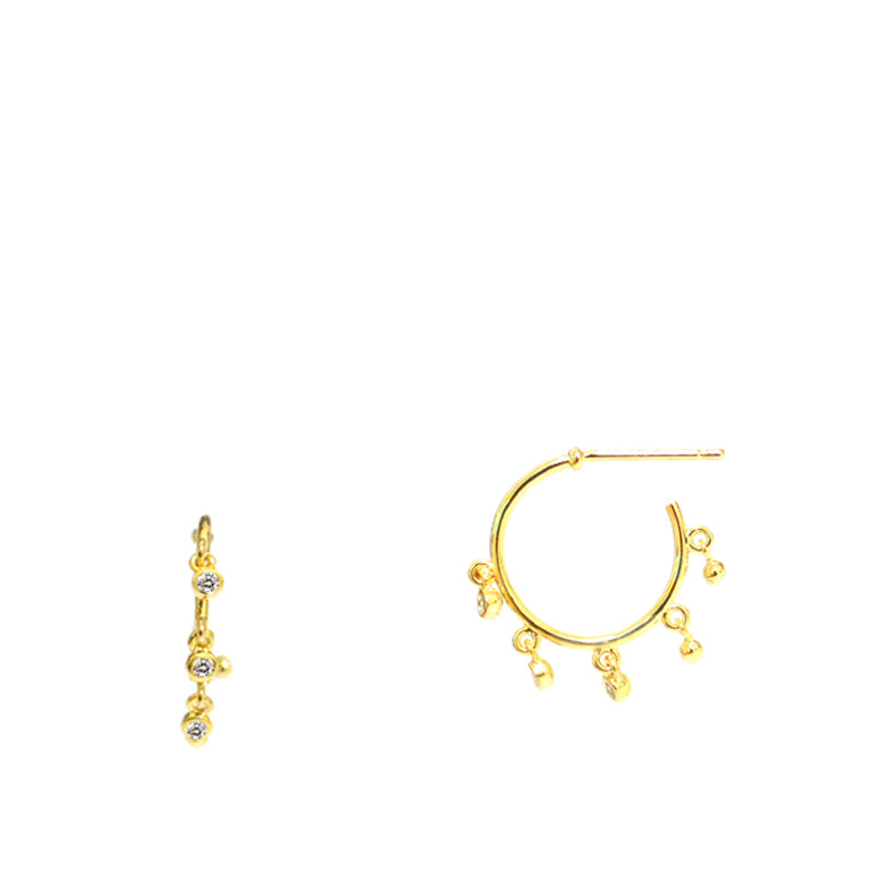 Tai Small Gold Hoops with CZ Drops
