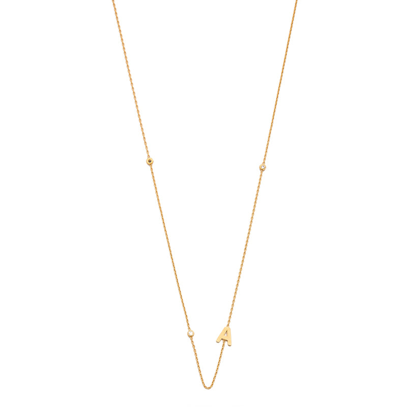Tai Sideway Initial Gold Necklace with CZ Accents