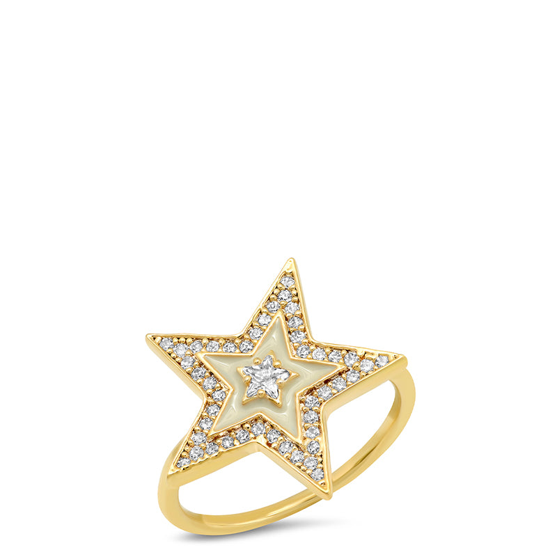 Tai Enamel Pave Star Ring