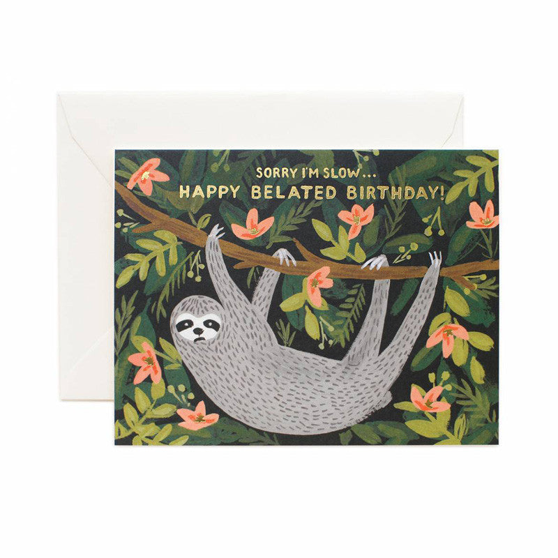 rifle-paper-co-sloth-belated-birthday-card
