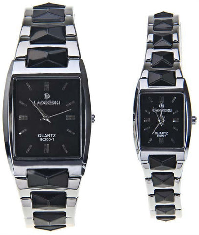LaoGeShi Couple Quartz Watches with Strips Indicate Rectangle Watch Band