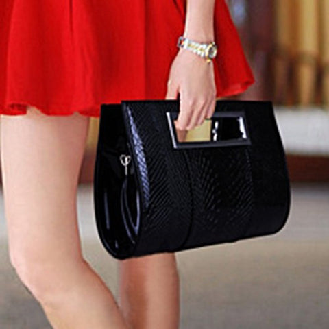 Black Graceful Patent Leather and Crocodile Print Design Women's Clutch Bag