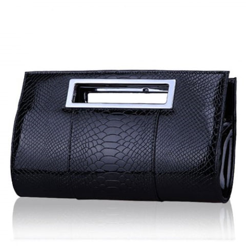 Graceful Patent Leather and Crocodile Print Design Women's Clutch Bag