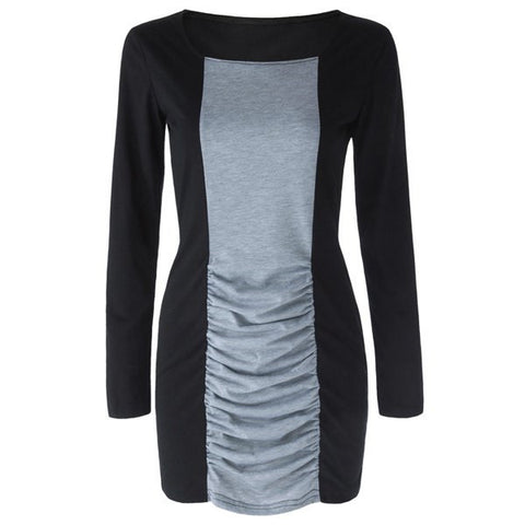 Stylish Long Sleeves Women's Dress Color Blocks