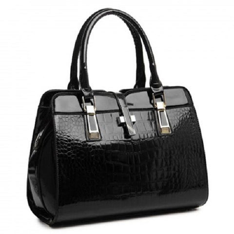 Patent Leather Ladies Tote Bag with Crocodile Print Design