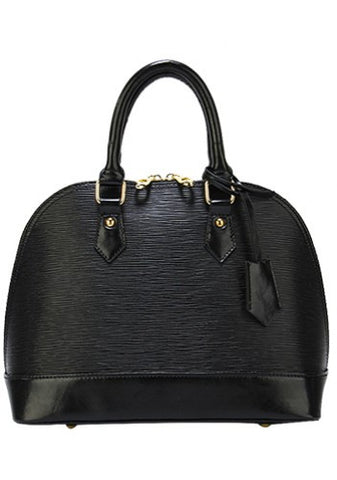 Emma Top Handle Leather Bag Black