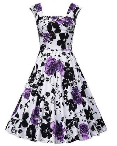 Retro Style Women's Dress with Flower Patern