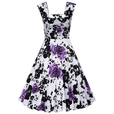 Retro Style Women's Dress back with Flower Patern