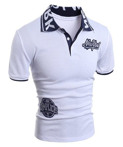 Men's white t-shirt polo