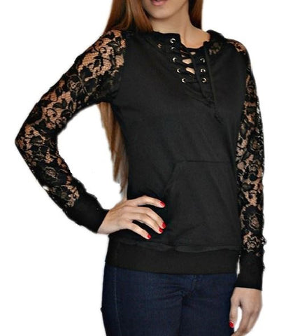 Black Lace-Up Women's Hoodie