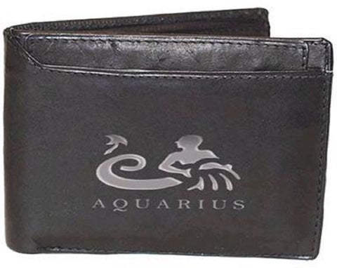 Aquarius Zodiac Sign Leather Wallets