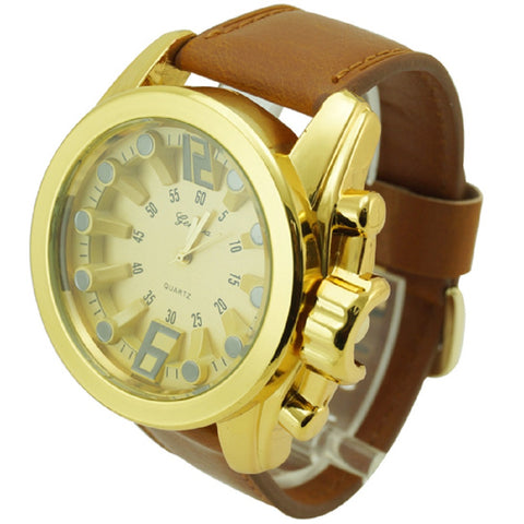 Geneva Angled Batons Leather  Men's Watch Brown