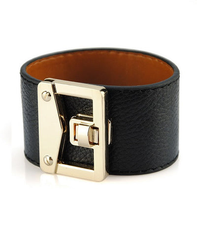 Wide Leather Bracelet Wristband